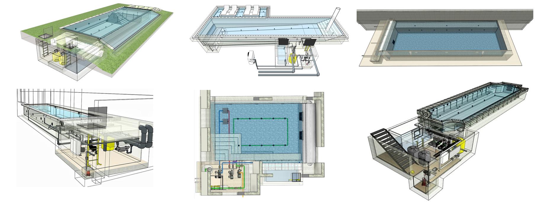 תכנית רעיונית - הדמיה תלת מימדית להמחשת פרטי הבריכה