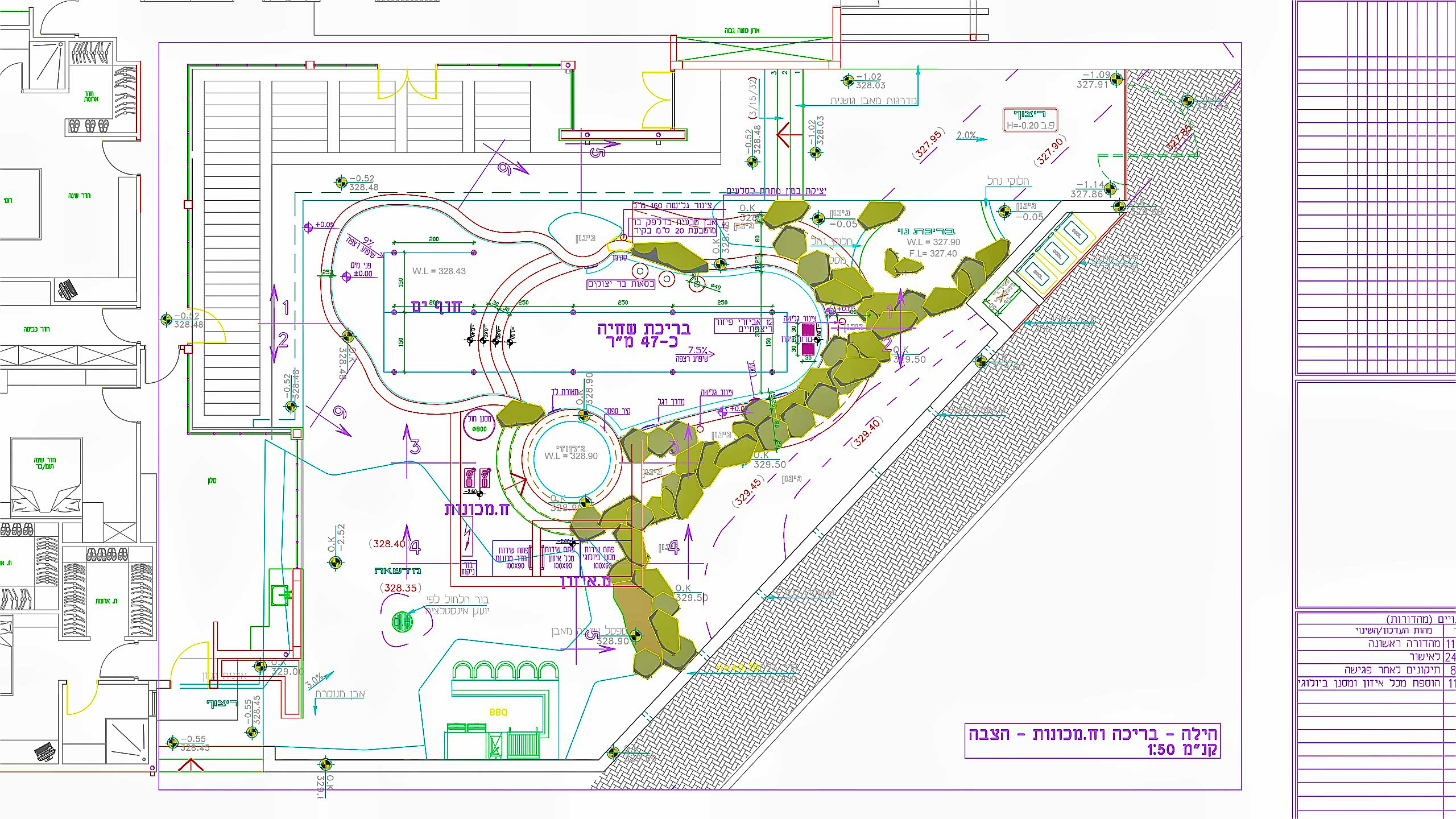 GAV - שילוב בריכת השחייה בתכניות המבנה ואו הפיתוח