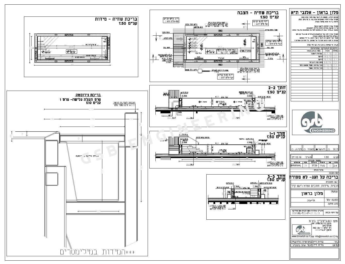 תכנון בריכת שחייה מנירוסטה - מלון בראון