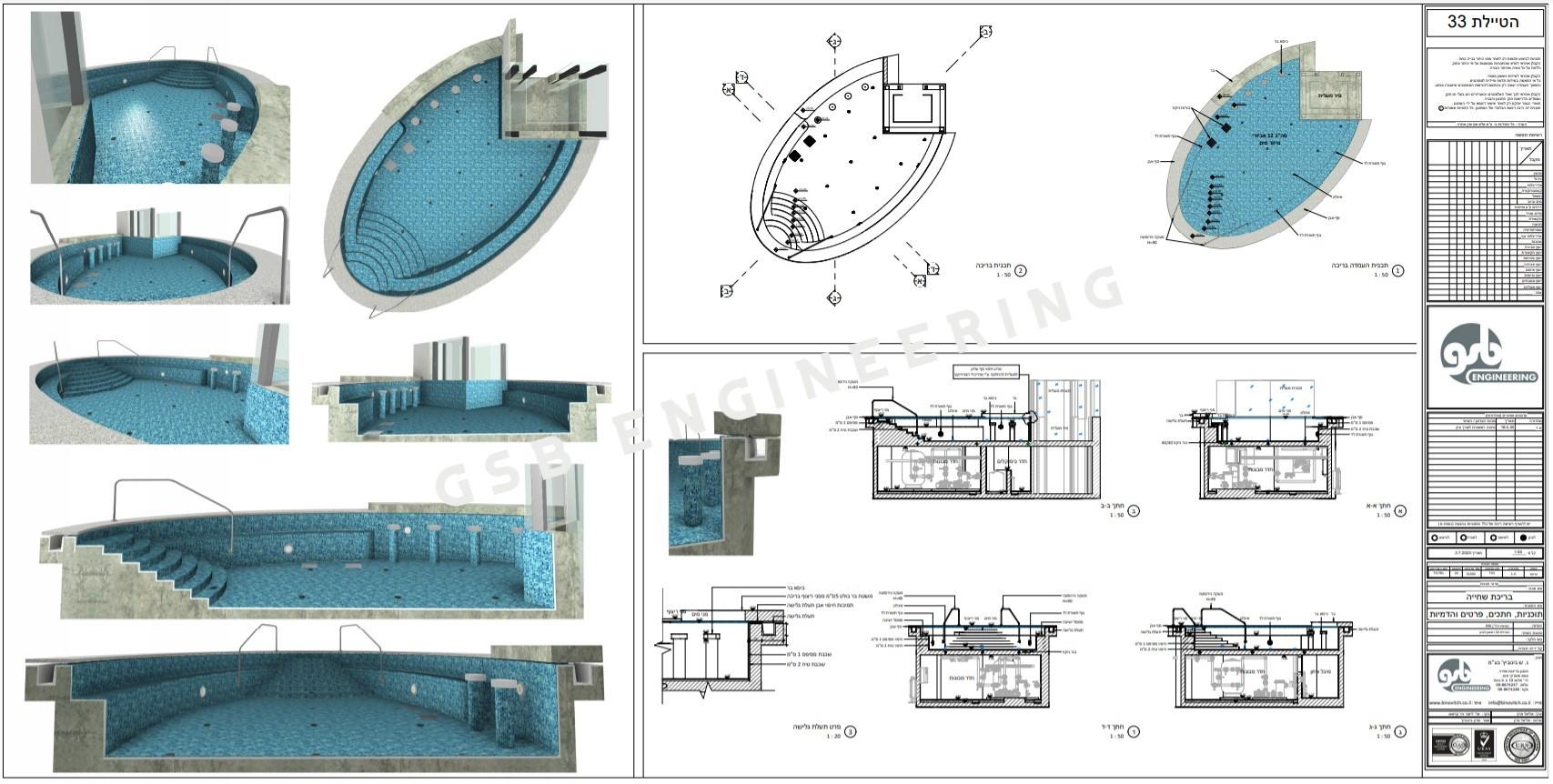תכנון בריכת שחייה אובאלית עם בר וכיסאות מובנים